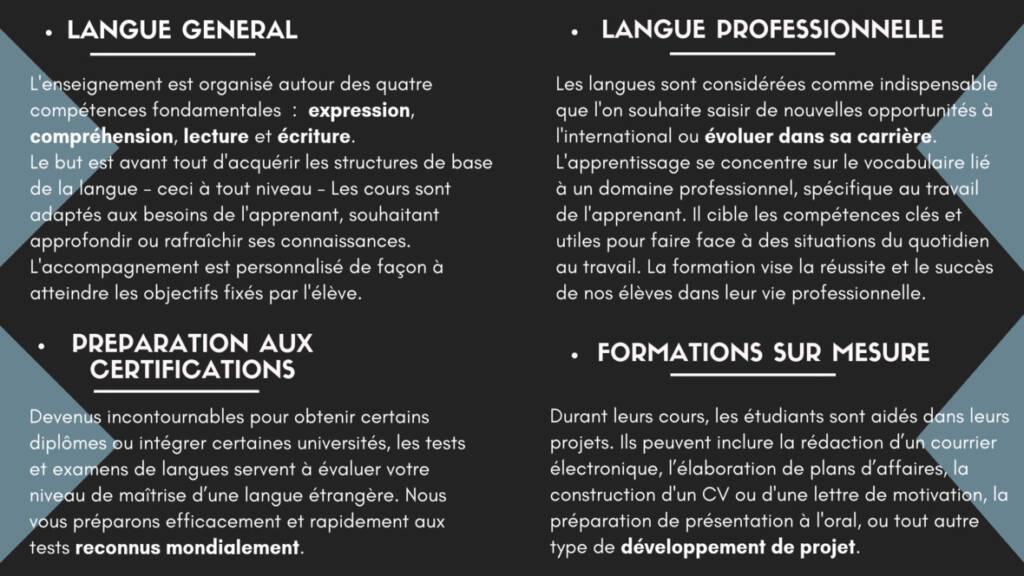 Explications de nos différentes formations de langues